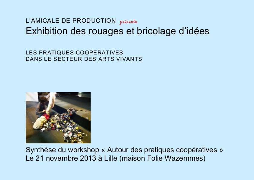 6 EXHIBITION DES ROUAGES – COOPERATION – SYNTHESE WORKSHOP 21 NOV 13