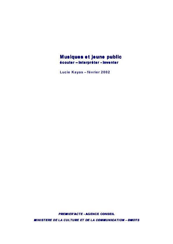 Kayas Rapport Musique Et Jeunes 2002
